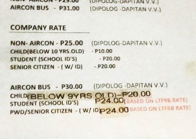Dapitan City Evergood Transit Bus - ticket prices