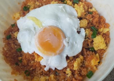 Day 5 Dinner – egg and rice bowl with poached egg + water