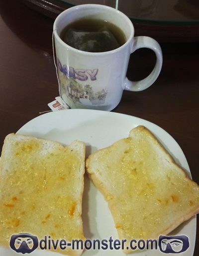 Day 7 Breakfast – soft white bread with orange marmalade + tea